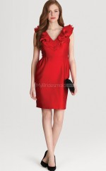 Red Satin Chiffon Sheath V-neck Short Bridesmaid Dresses (NZBD06310)