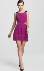 Lilac Chiffon A-line Straps Short Bridesmaid Dress For Beach(NZBD06318)