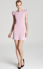 Pink Satin Chiffon Sheath Jewel Neckline Short Bridesmaid Dresses (NZBD06319)