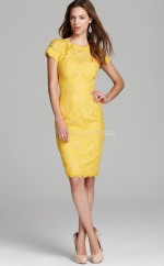 Yellow Lace Sheath Jewel Neckline Knee length Bridesmaid Dresses (NZBD06326)