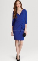 Royal Blue Chiffon Sheath V-neck Short Bridesmaid Dress For Beach(NZBD06330)