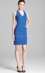 Ocean Blue Satin Sheath V-neck Short Bridesmaid Dresses (NZBD06331)