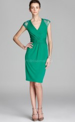 Jade Knitwear , Lace Sheath V-neck Knee-length Vintage Bridesmaid Dresses (NZBD06334)