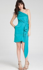 Pool Stretch Satin Sheath One Shoulder Short Bridesmaid Dresses (NZBD06335)