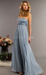 Silver Chiffon A-line Strapless Long Bridesmaid Dresses (NZBD06340)