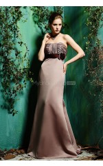 Brown Satin Sheath Strapless Long Bridesmaid Dresses (NZBD06341)