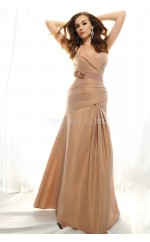 Champagne Taffeta Sheath Sweetheart Long Bridesmaid Dresses (NZBD06344)