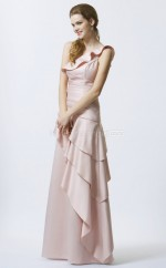 Pearl Pink Satin Chiffon A-line One Shoulder Long Bridesmaid Dresses (NZBD06351)
