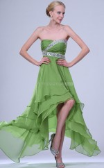 Clover Chiffon A-line Strapless Knee-length Bridesmaid Dress For Beach(NZBD06352)