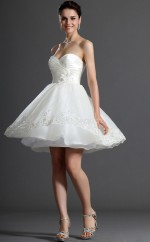 White Silk Like Chiffon A-line Sweetheart Neckline Short Bridesmaid Dress For Beach(NZBD06354)