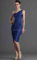 Royal Blue Taffeta Sheath One Shoulder Short Bridesmaid Dresses (NZBD06355)