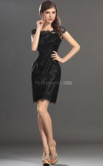 Black Lace Sheath Off The Shoulder Short Bridesmaid Dresses (NZBD06358)