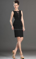 Black Chiffon Sheath Bateau Neckline Short Bridesmaid Dress For Beach(NZBD06359)