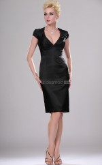 Black Satin Sheath V-neck Short Bridesmaid Dresses (NZBD06365)
