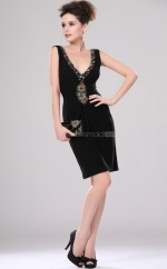Black Charmeuse Sheath V-neck Short Bridesmaid Dresses (NZBD06367)