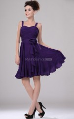 Regency Chiffon A-line Straps Short Bridesmaid Dress For Beach(NZBD06369)