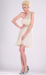 Pearl Pink Chiffon A-line One Shoulder Short Bridesmaid Dresses (NZBD06370)