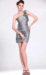 Silver Taffeta Sheath One Shoulder Short Bridesmaid Dresses (NZBD06371)