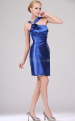Royal Blue Stretch Satin A-line One Shoulder Short Bridesmaid Dresses (NZBD06378)
