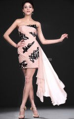Pink Chiffon , Lace Sheath Strapless Short Bridesmaid Dresses (NZBD06382)