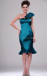 Ink Blue Chiffon Sheath One Shoulder Short Bridesmaid Dresses (NZBD06397)