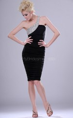 Black Organza Sheath One Shoulder Short Bridesmaid Dresses (NZBD06398)