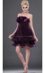 Grape Satin Chiffon A-line Strapless Short Bridesmaid Dresses (NZBD06399)