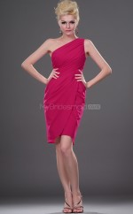 Fuchsia Chiffon Sheath One Shoulder Short Bridesmaid Dresses (NZBD06400)