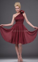 Burgundy Chiffon A-line One Shoulder Short Bridesmaid Dresses (NZBD06401)