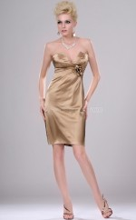 Champagne Chiffon Sheath Strapless Short Bridesmaid Dress For Beach(NZBD06403)