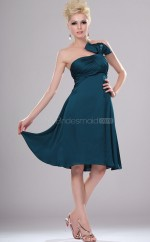 Ink Blue Organza A-line Strapless Short Vintage Bridesmaid Dresses (NZBD06404)
