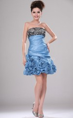 Sky Blue Organza A-line Strapless Short Bridesmaid Dresses (NZBD06407)