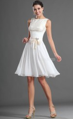 White Chiffon A-line Jewel Neckline Short Bridesmaid Dress For Beach(NZBD06417)