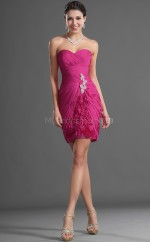 Fuchsia Chiffon Sheath Sweetheart Neckline Short Bridesmaid Dress For Beach(NZBD06418)