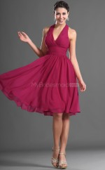 Fuchsia Chiffon A-line Halter Short Bridesmaid Dress For Beach(NZBD06423)