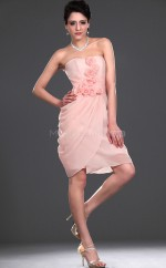 Pink Chiffon Sheath Sweetheart Neckline Short Bridesmaid Dress For Beach(NZBD06428)