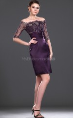 Grape Satin , Lace Sheath Off The Shoulder Short Bridesmaid Dresses (NZBD06430)
