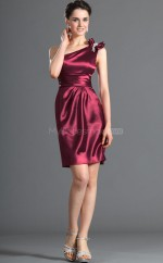 Burgundy Stretch Satin Sheath One Shoulder Short Bridesmaid Dresses (NZBD06431)