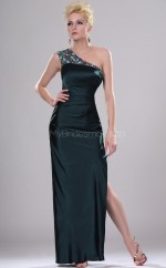 Dark Navy Satin Chiffon Sheath One Shoulder Long Bridesmaid Dresses (NZBD06433)