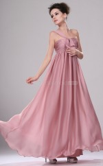 Nude Pink Satin Chiffon A-line One Shoulder Long Bridesmaid Dresses (NZBD06437)