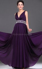 Regency Chiffon A-line V-neck Long Bridesmaid Dresses (NZBD06440)