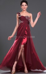 Burgundy Chiffon A-line One Shoulder Long Bridesmaid Dresses (NZBD06441)