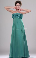 Jade Chiffon A-line Strapless Long Bridesmaid Dresses (NZBD06444)