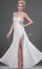 Ivory Chiffon A-line Sweetheart Long Bridesmaid Dresses (NZBD06445)
