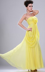 Yellow Chiffon A-line Strapless Long Bridesmaid Dresses (NZBD06447)