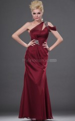 Burgundy Chiffon Sheath One Shoulder Long Bridesmaid Dresses (NZBD06449)