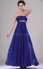 Royal Blue Chiffon A-line Strapless Long Bridesmaid Dresses (NZBD06451)
