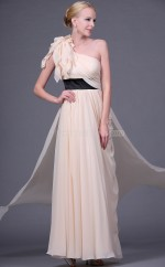 Pearl Pink Chiffon A-line One Shoulder Long Bridesmaid Dresses (NZBD06452)