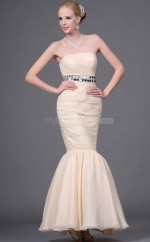 Pearl Pink Chiffon Mermaid Strapless Long Bridesmaid Dresses (NZBD06453)