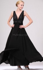 Black Chiffon A-line V-neck Long Bridesmaid Dresses (NZBD06459)